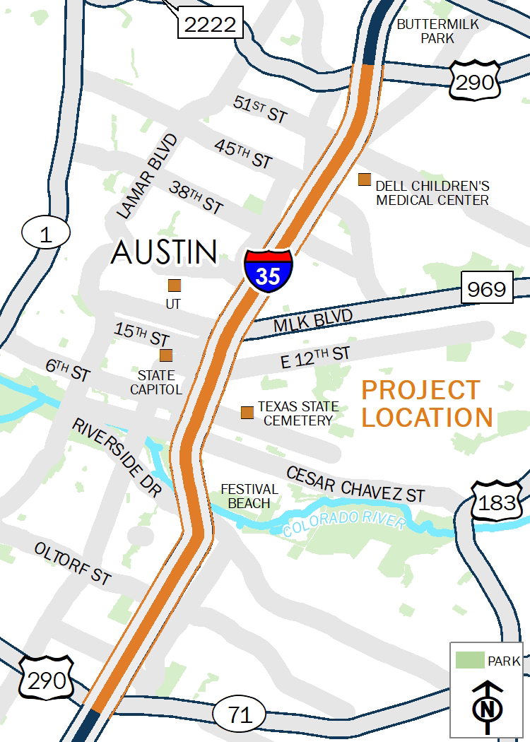 I-35 from from US 290 East to SH 71 map