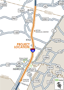 SH 45 Southeast to Posey Road map
