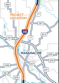 I-35E from US 77 south to US 77 north - Waxahachie map